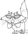 Black and white cartoon cat wearing sun glasses