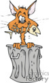 cat sitting in a garbage can with a fish skeleton in it's mouth  gif