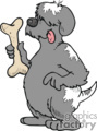 Cartoon dog holding a big bone