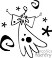 Black and White Whimsical Flying Angel with a Halo over Top