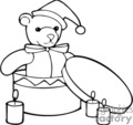 black and white teddy bear with a santa hat in a round box gif