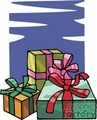 three colorful gift boxes wrapped for christmas gif, jpg