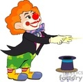 a funny red nosed clown getting ready to do magic