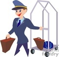 A Bellman Holding a Piece of Luggage and Pulling a Cart
