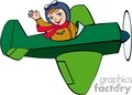 a pilot flying a green plane waiving