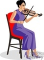 a woman in a purple dress playing a violin