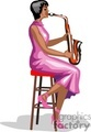 A Woman Wearing a Pink Dress Sitting on a Stool Playing a Saxophone
