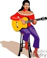 A Woman Wearing a Red Shirt Sitting on a Stool Playing an Acoustic Guitar