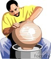 man doing pottery