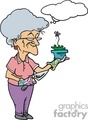 cartoon grandma doing some gardening