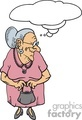 cartoon senior lady holding a purse