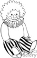 A black and white stuffed clown
