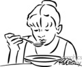 Black and white girl eating a bowl of hot soup