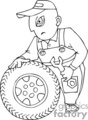 occupations work working occupational tire tires repair mechanic   working_005-b clip art people occupations  gif