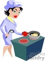 Woman chef frying eggs