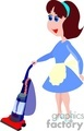 cartoon woman vacuuming