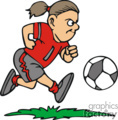 Girl soccer player kicking the ball