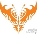 tribal isslustrated butterfly in orange on white