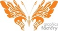 birght orange tribal butterfly