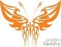 orange flamed winged butterfly clip art