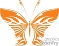 orange symmetrical tattoo of a butterfly
