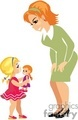 a small blonde girl holding a doll talking to her teacher gif, png, jpg, eps
