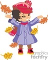 A Happy Little Girl in a Purple Coat Playing in the Autumn Leaves