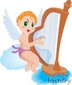 an angel on the clouds playing a harp gif, png, jpg, eps