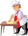 cartoon baker kneading dough