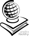 Black and white outline of a globe and textbook