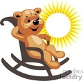 Stuffed teddy bear rocking in chair in the sun