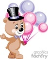 Teddy bear holding pink and purple balloons