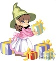 small elf girl getting presents ready for Christmas