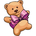 Cute teddy bear with a pink bow around it.