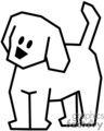 black and white stick figure pet dog