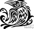 Black and white tribal crow, left-facing