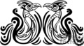 Black and white tribal pheonix birds seated face to face, mirror image