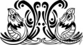 black and white tribal birds looking a sky with crossed wings, mirror image gif, png, jpg, eps