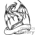 black and white dragon with banner