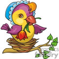 baby chick holding a flower sitting in a nest gif, png, jpg