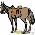 a brown horse standing still with a saddle on it gif, png, jpg, eps