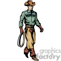 A Wild West Cowboy in a Green Shirt and Brown Chaps Holding a Rope