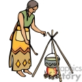 indian indians native americans western navajo fire cooking female vector eps jpg png clipart people gif gif, png, jpg, eps