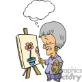 Grandma painting a flower