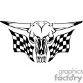 Skull with racing flags