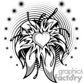 Flower Heart Tattoo Design with a spiral