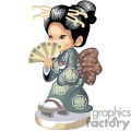an asian girl in a gray kimona with a brown sash holding a fan in front of her face gif, png, jpg, eps