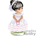 Little girl in white party dress with pink trim