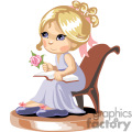 A little girl in a blue nightgown and slippers sitting in a chair reading a book