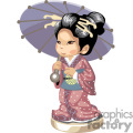 an asian girl in a kimono holding a blue umbrella